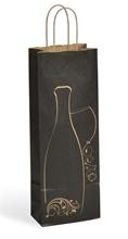 Sacs cadeaux Kraft décorés 1 bouteille de vin poignées rigides