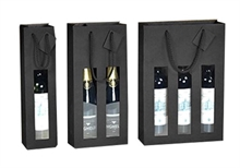Sacs cadeaux Kraft pour 1 bouteille de vin à fenêtres