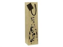 Sacs cadeaux Kraft décorés 1 bouteille de vin poignées cordelières